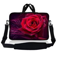 """14.1"""" 14"""" Laptop Sleeve Bag Case w Shoulder Strap and Handle Rose Flower S16"""