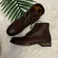 Frye Tyler Leather Lace Up Boots Women Dark Brown Size 8 NEW