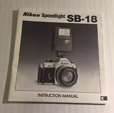 Vintage Nikon SB-18 Camera Speedlight - User Instruction Manual