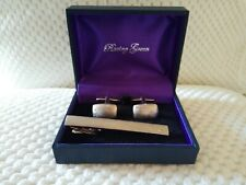 Racing Green Boxed Cuff Link & Tie Bar Set In Satin Pewter