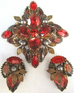 Gorgeous Givre Red Rhinestone Golden Leaves Faux Pearl Pin Earring Set