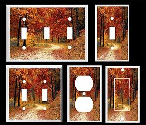 FALL LEAVES TREES COUNTRY LANE LIGHT SWITCH COVER PLATE