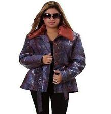 Purple Snakeskin Print Jacket w/faux Fur collar buttons belt. 100%PVC. Sz Small