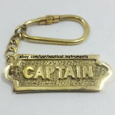 Solid Brass Vintage Nautical CAPTAIN Key Chain Collectible Gift