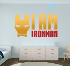 I Am Ironman Sticker Vinyl Black Decal Decor Wall Lettering Custom Colors Ms44