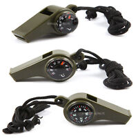 3 in1 Hiking Camping Outdoor Emergency Survival Gear Whistle Compass Thermometer