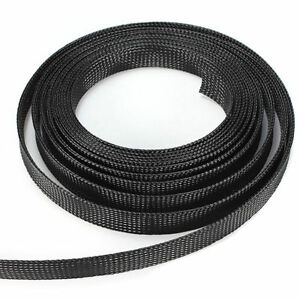 1/2/5/10M  Expandable PET Braided Cable Wire Sleeving High Density Black