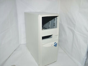 ✔️🖥 RETRO WHITE AT TOWER COMPUTER CASE WITH POWER SUPPLY 150W - UK SELLER