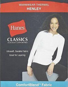Hanes White Long Sleeve Warm Wear Henley Thermal Layer Women's Shirt
