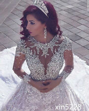Princess Luxury Bling Crystal Fall Winter Long Sleeve Bridal Gown Wedding Dress
