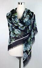 Gucci Navy Blue Modal/Silk Shawl Scarf with Blue Bloom Print 550905 4069
