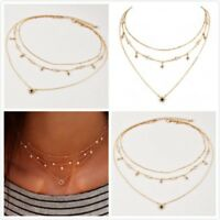 Multilayer Gold Chain Choker Star Crystal Pendant Necklace Fashion Jewelry Women