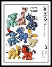 McCall's #1078 Fabric Sewing Pattern 8 Stuffed Animals Giraffe Donkey Camel Faun