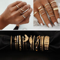 12Pcs/Set Vintage Gold Boho Moon Midi Finger Knuckle Rings Charms Jewelry Gift