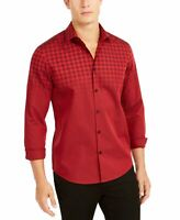 Alfani Mens Shirt Red Size Small S Button Up Buffalo Plaid Printed $65 #322