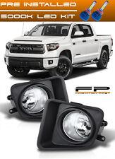 LED + 2014 - 2017 Toyota Tundra Fog light Lamps Kit Clear Lens Full Complete Kit