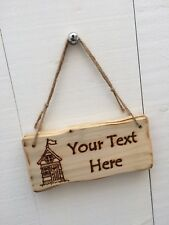 Handmade Personalised Rustic Wooden Beach Hut Seaside Surf Surfing Sign Plaque