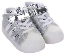 LED Light up Shoes Trainers Luminous SNEAKERS Children Kids Baby Boys Girls Shoe Silver UK 5 Infant