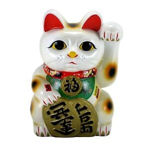 "Japanese XXL 15""H Jumbo Maneki Neko Beckoning Cat Ceramic Figurine/ Coin Bank"