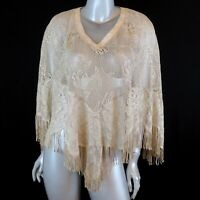 Spencer Alexis Shawl Gold Thread Floral Fringe Knit Poncho Shimmer Women's Large