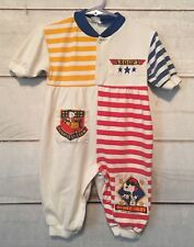 Vintage Snoopy Pilot Baby Romper Sleeper 6-9 Months 90's White Stripes