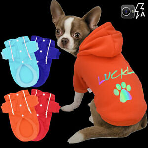 Personalised Small Medium Dog Cat Hoodie Pet Name Engraved Cute Paw Vest Clothes