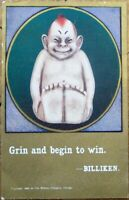 Billiken 1910 Postcard w/Christmas/New Year Greeting - 'Grin and Begin to Win'