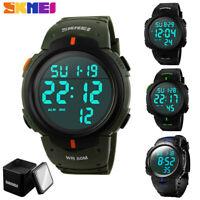 SKMEI Mens LED Digital Sport Watch Waterproof Date Army Military Stopwatch Gifts