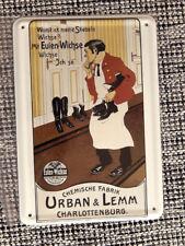 Blechpostkarte, 14,5 x 10 cm, Eulen-Wichse, Schuhe, Stiefel, wie neu, -85-