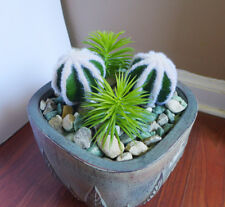 4 Pieces Succulents Artificial Flocking Ball and Mini Pine Tree Plants Grass