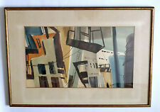 1960 VINTAGE SIGNED WATERCOLOR ABSTRACT INDUSTRIAL DOCK SCENE PAINTING
