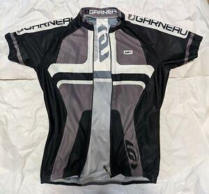 Louis Garneau Men's Cycling Jersey Full Zip Size S Black / Grey / White