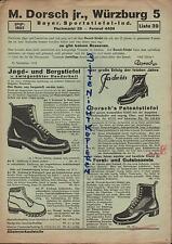 WÜRZBURG, Prospekt um 1938, M. Dorsch jr. Bayr. Sportstiefel-Industrie Jagd-Ber