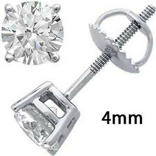 Cz Stud Earrings Round Screwback 925 Sterling Silver