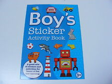 Boy's Sticker Activity Book Complete The Pictures With Fun Colour Stickers