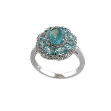 PARAIBA APATITE BRAZILIAN & TOPAZ FlOWER CLUSTER STERLING SILVER RING GOLD OVER