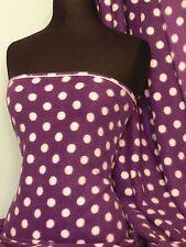 Púrpura/Blanco Polka Dots Polar-Anti píldora Lavable Suave Tela Q44 pplwht