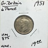 1951 GREAT BRITAIN 6 PENCE COIN, KING GEORGE VI, KM# 875, UNC.