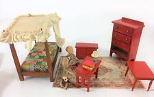 Dollhouse Mini Doll Girls Room Vtg Toncoss Sturbridge Bed Hagen Dog Desk Set 10p