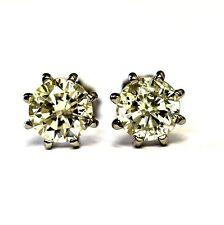 New 14k white gold 1.40ct SI2 K clarity enhanced round diamond stud earrings