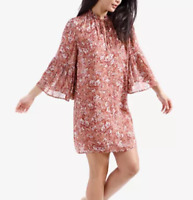 Women's Lucky Brand Printed Bell-Sleeve Peasant Dress, Pink, Size: S- NWT