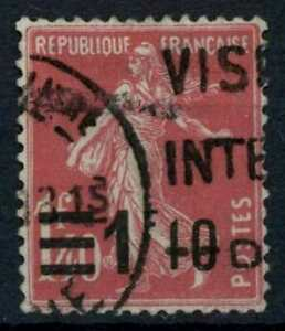 France 1926-1927 SG#445, 1f10 On 1f40 Cerise Sower Used #E84773