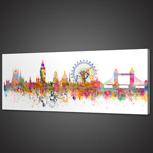 LONDON CITYSCAPE PANORAMIC CANVAS PRINT PICTURE WALL ART VARIETY OF SIZES