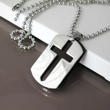 "Silver Black Army Double Twin Dog Tag Pendant 24"" 61cm Mens Chain Cross Necklace"