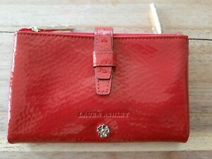 Laura Ashley Trifold Wallet Purse in Red Patent Faux Leather & Polka Dot- BNWOT