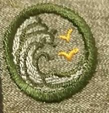1928-1938 Girl Scout Grey Green Badge SQUARE - SWIMMER