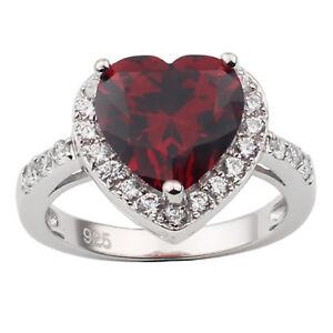 Women 925 Silver Ring 10x10mm Big Heart Shape Cubic Zirconia CZ Love Jewelry