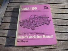 HAYNES WORKSHOP MANUAL Simca 1100 1204 1100 , 1967-1971, ONE OWNER from 1973.