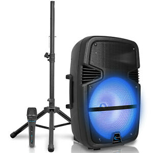 """Technical Pro 3000 W Rechargeable 15"""" Bluetooth LED Speaker Package with Tripod"""