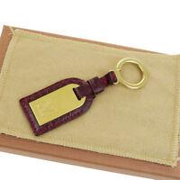 Auth LOUIS VUITTON Bag Charm Key Ring Crocodile Skin Leather Bordeaux 02V167